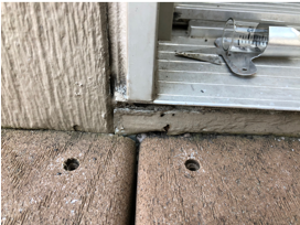 Clue to potential rotting around door threshold
